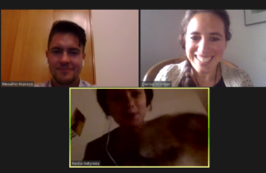 Nadiia with her dog Snupka, Mihailo, Clarisse diskussing Open Public Services Data